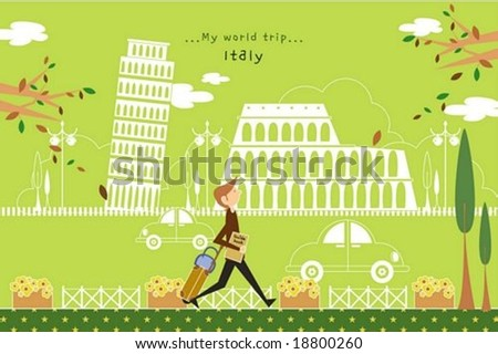 Happy Tour - traveling cute young tourist with guide and suitcase in a street of beautiful city park on romantic green background : vector illustration