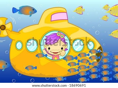 Happy Tour with Cute Friends - traveling wonderful underwater with a lovely young child and fantastic colorful schools of oceanic fish on beautiful blue background : vector illustration - stock vector