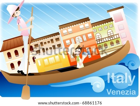 Happy Tour with Good feeling - traveling in romantic Italy with cute young female and gondolier on summer vacation background with beautiful blue sky and colorful architecture : vector illustration - stock vector