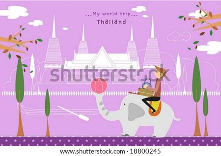 Happy Travel - riding young man with cute animal in front of beautiful famous architecture on romantic violet background : vector illustration