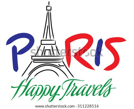 Happy Travel Series Paris Hand Lettering