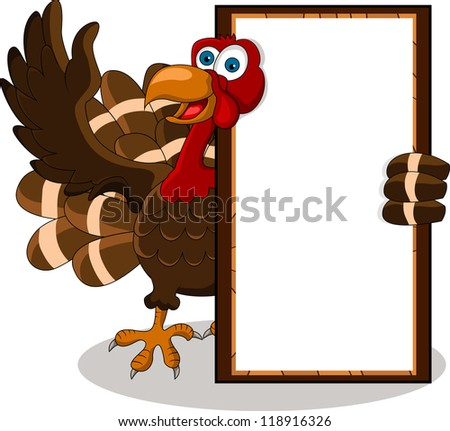 happy turkey cartoon with blank board - stock vector