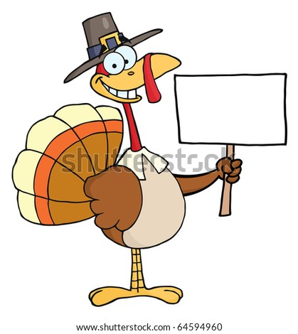 Happy Turkey With Pilgrim Hat Holding A Blank Sign - stock vector