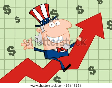 Happy Uncle Sam Riding Up On A Statistics Arrow - stock vector