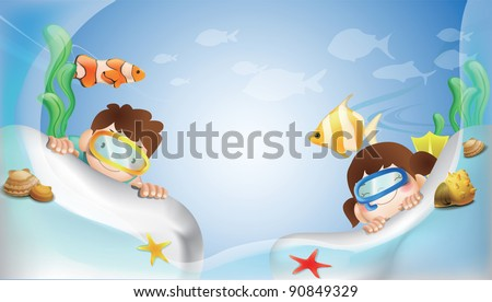 Happy Underwater Adventure with Cute Marine Life on blue background