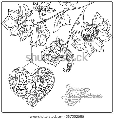 Valentine coloring pages for older kids ~ Happy Valentine Day Card Decorative Love Stock Vector ...