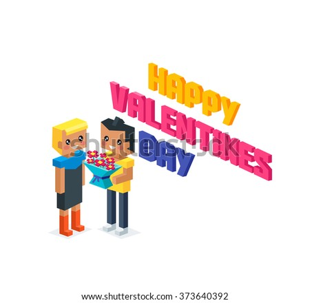 Happy valentine day couple 3d isometric. Valentines day, happy valentine, young couple, happy couple, valentine couple in love, isometric 3d couple people, romantic relationship lover man give flower - stock vector