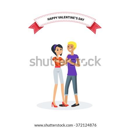 Happy valentine day couple dancing design flat. Valentines day, happy valentine, couple love, young couple, love and happy couple, woman and man couple, celebration pair, people romantic illustration - stock vector