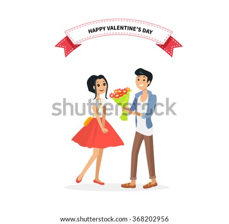 Happy valentine day couple. Man give flower woman. Valentine and day, couple and valentines day, happy valentine, couple in love, young couple, love and happy couple, flower and event illustration - stock vector