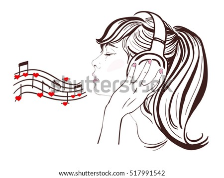 Happy Valentine Day, pretty girl with dark long hair in headphones singing and listen to romantic music. Notes with hearts, copy space. Vector hand-drawn illustration.