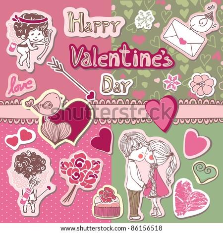 happy valentine`s day - stock vector