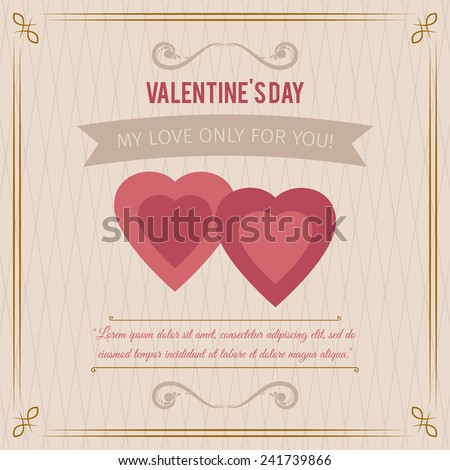 happy Valentine's Day abstract background with hearts and words of love - stock vector