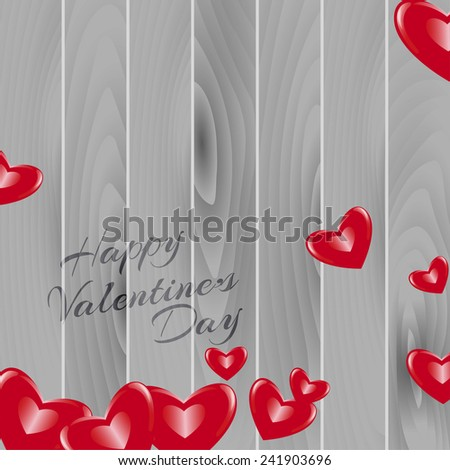 Happy Valentine's Day background. red hearts on wood texture