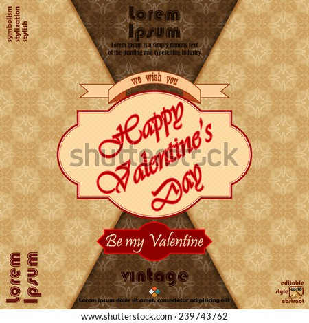 "Happy Valentine's Day background with ""Be my valentine"" text and arabesques patterns as background.   - stock vector"