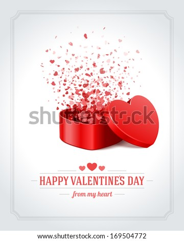 Happy Valentine's day card and open heart gift and flow hearts vector background - stock vector