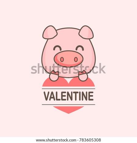 Cute Pig With Heart Cartoon