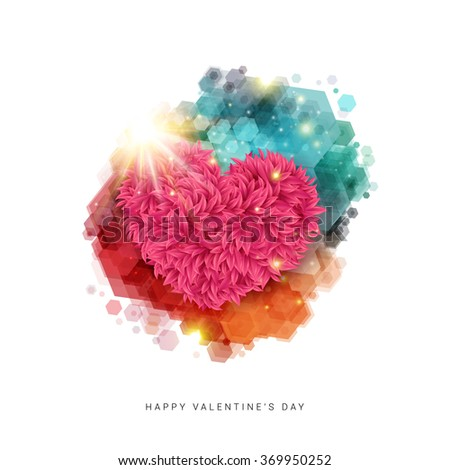 Happy Valentine`s day card. Decorative floral heart in bright rays of shining star. Bright colored hexagon stain. Vector illustration. - stock vector