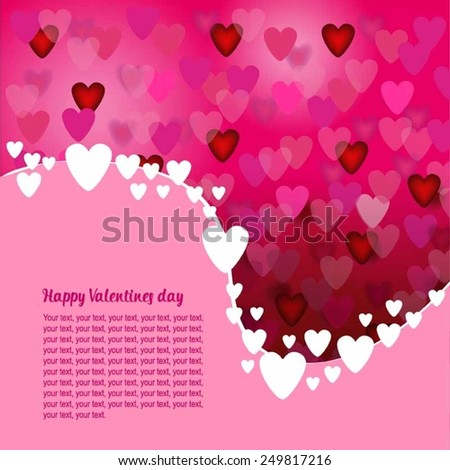 Happy Valentine's day card hearts pink vector background