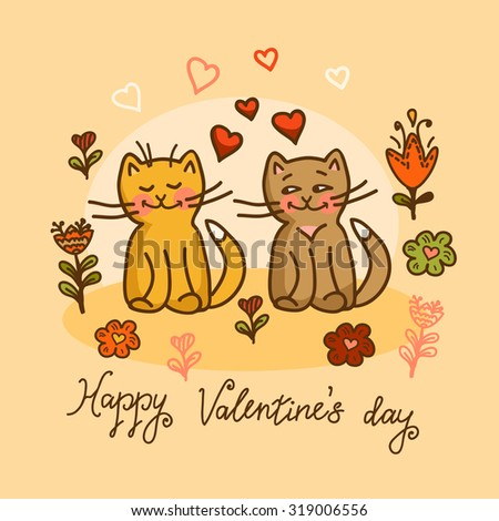 Happy Valentine's day card in vector. Cute Save the Date invitation in vector. Funny cats with flowers and hearts. - stock vector