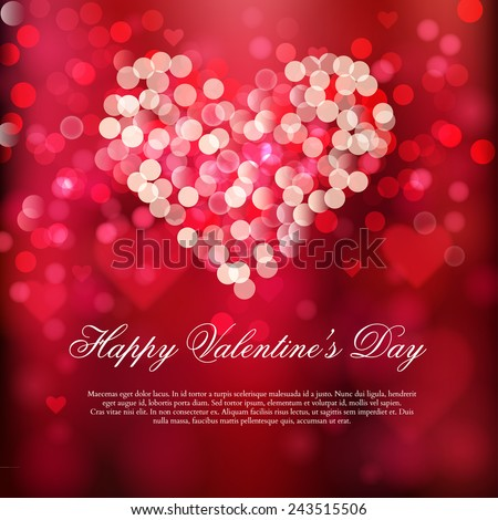 Happy Valentine's day card. Love is in the air.  Shiny hearts and light vector background  - stock vector