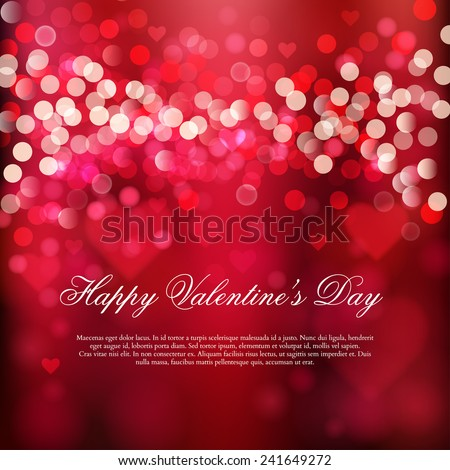 Happy Valentine's day card. Shiny hearts and light vector background  - stock vector