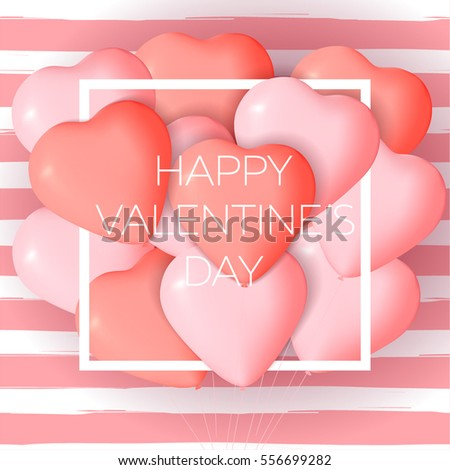Happy valentines day card template cute stock vector hd royalty happy valentines day card template with cute and fancy pink red heart balloons with lettering voltagebd Image collections