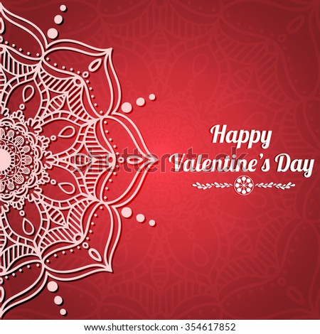 Happy Valentine's day card with stylish hand drawn mandala and space for text. Holiday design, romantic mandala pattern. Great for background, banner, greeting, invitation card, brochure, etc. Vector  - stock vector