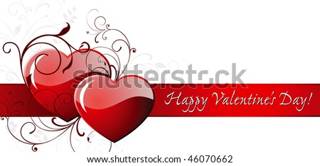 Happy Valentine's day card with two hearts. - stock vector