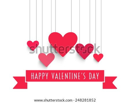 Happy Valentine's Day celebration with pink hanging hearts and ribbon on white background. - stock vector