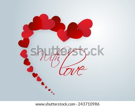 Happy Valentine's Day celebrations with glossy red hearts and text With Love on blue background. - stock vector