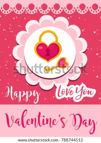 Happy Valentines Day Cute Poster Invitation Stock Vector 788744512 ...