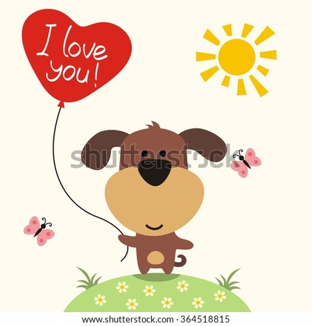 Happy valentines day cute puppy balloonheart stock vector happy valentines day cute puppy with balloon heart i love you valentines voltagebd Choice Image