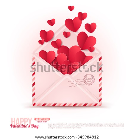 Happy Valentine's Day Envelope with Paper Hearts Flying Away. Vector Illustration. Realistic Mail Envelope. Can be used for Mother's and Women's Day Greetings. Love Inside Valentine Concept.