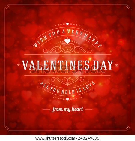 Happy Valentines Day Greeting Card Bokeh Vector 243249895 – Happy Valentines Day Greeting Cards