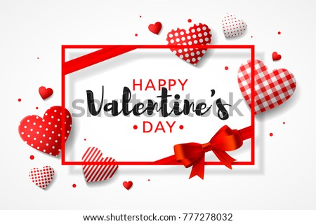 Happy Valentine's Day greeting card design with frame, gift bow and different patterns hearts, vector illustrtation