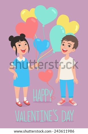 Happy Valentine's Day greeting card. Kids with heart shaped balloons - stock vector