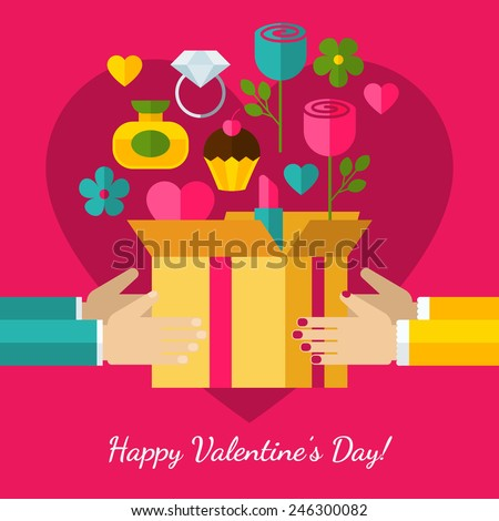 Happy Valentine`s Day greeting card. Set of flat design concept icons for web and mobile phone services and apps. Hands with gift illustration background.  - stock vector
