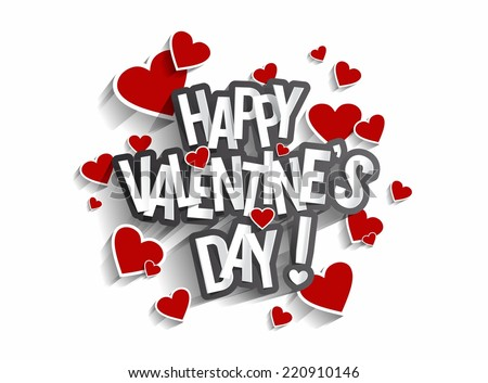 Happy Valentine's Day Greeting Card vector illustration - stock vector