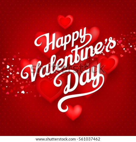 Happy valentines day greeting text on stock vector 561037462 happy valentines day greeting text on the red background with confetti and realistic hearts decorations m4hsunfo