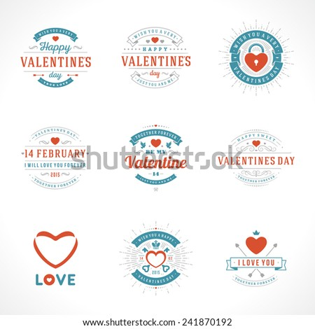 Happy Valentine's Day greetings cards, labels, badges, symbols, illustrations and typography vector elements  - stock vector