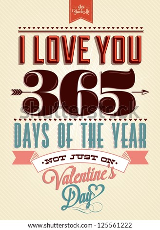 Happy Valentine's Day Hand Lettering - Typographical Background - stock vector