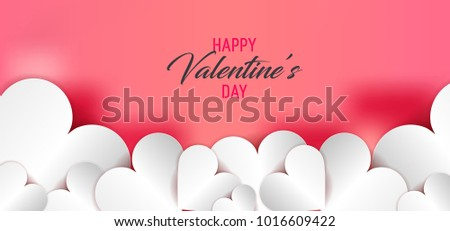 Happy Valentine's day. Heart Background for Valentine's day, paper hearts. Love symbol for 14 February card on vector background