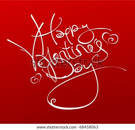 Happy Valentine's Day inscription with hearts, vector illustration. - stock vector