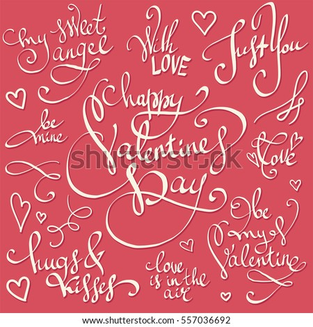 Happy Valentine's Day lettering decorations vector set. Sweet, love and happiness motivation quotes. Cute hand drawn calligraphy great for greeting cards, wedding invitations, posters and stamps.