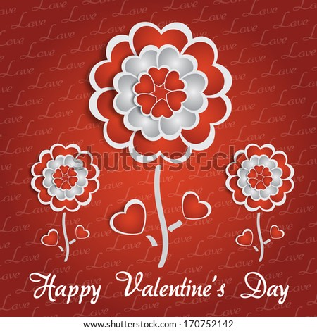 Happy Valentine's Day lettering Greeting Card on red background with heart stylized flowers - stock vector