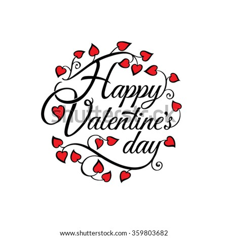 Happy Valentine's Day lettering Greeting Card on white background with red hearts. Vector illustration.
