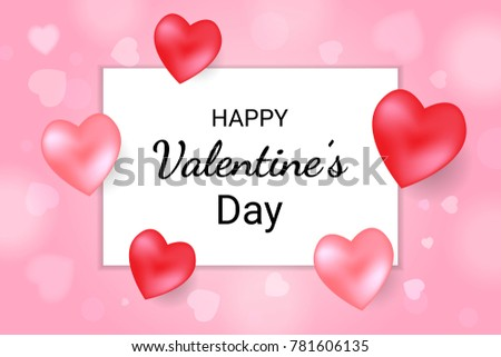 Happy Valentines Day Lettering Text Background Stock Vector ...