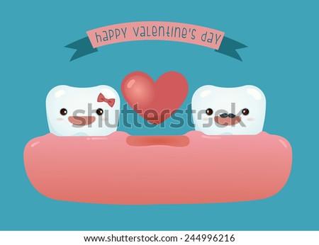 Happy valentine's day of dental - stock vector