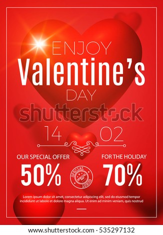 happy valentines day poster realistic heart stock vector 535297132, Ideas