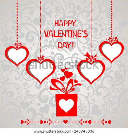 Happy Valentine's day! Red Heart frame. Celebration background with hearts, gift box and place for your text. Vector illustration  - stock vector